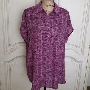 Pleione fuschia pink and black blouse  One pocket
